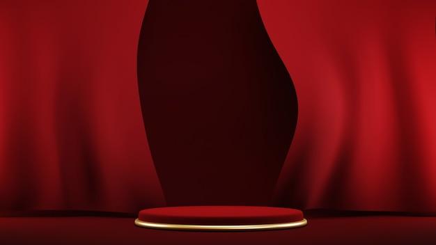 Podium, sokkel of platform, achtergrond voor de presentatie van cosmetische producten. plaats voor advertenties. 3d-rendering rode podiumgeometrie met goud. productpresentatie leeg podium.