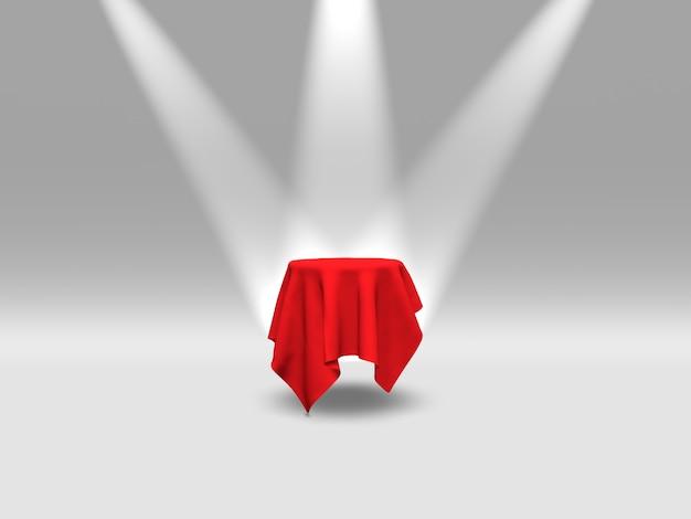 Podium, sokkel of platform bedekt met rode doek verlicht door schijnwerpers op witte achtergrond. abstracte illustratie van eenvoudige geometrische vormen. 3d-weergave.