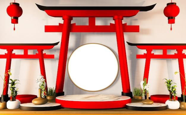 Podium Sokkel Voor Traditionele Japanse Producten 3d Decoratie Premium Foto