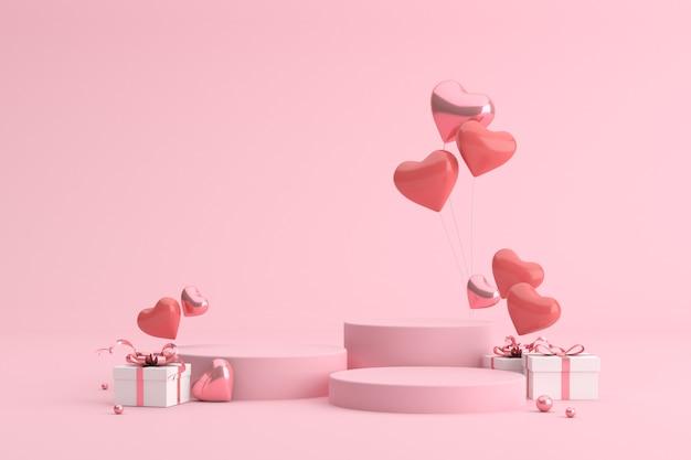 Podium van geschenkdoos met ballonnen in hartvorm.