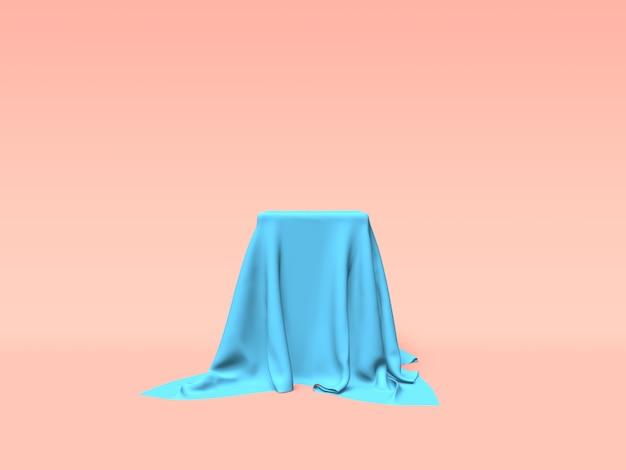Podium, voetstuk of platform bedekt met blauwe doek op roze achtergrond. abstracte illustratie van eenvoudige geometrische vormen. 3d-weergave.