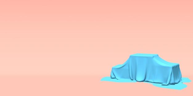 Podium, voetstuk of platform bedekt met blauwe doek op roze achtergrond