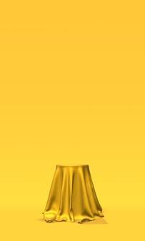 Podium, voetstuk of platform bedekt met gouden doek op gele achtergrond. abstracte illustratie van eenvoudige geometrische vormen. 3d-weergave.