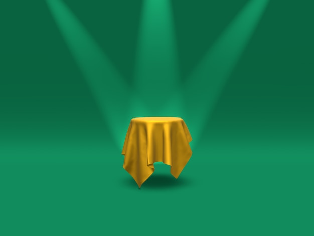 Podium, voetstuk of platform bedekt met gouden doek verlicht door schijnwerpers op groene achtergrond. abstracte illustratie van eenvoudige geometrische vormen. 3d-weergave.