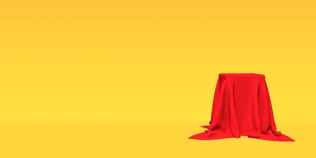 Podium, voetstuk of platform bedekt met rode doek op gele achtergrond
