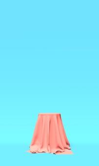Podium, voetstuk of platform bedekt met roze doek op blauwe achtergrond. abstracte illustratie van eenvoudige geometrische vormen. 3d-weergave.