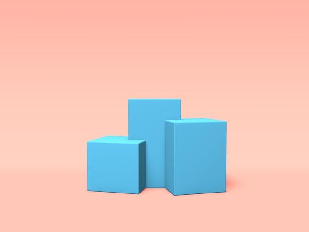 Podium, voetstuk of platform blauwe kleur op roze achtergrond. abstracte illustratie van eenvoudige geometrische vormen. 3d-weergave.
