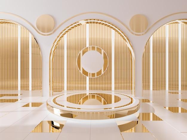 Podium voor het tonen van product en gouden muur interieur achtergrond. 3d render