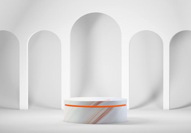Podium voor product met bogen op de achtergrond, 3d-rendering