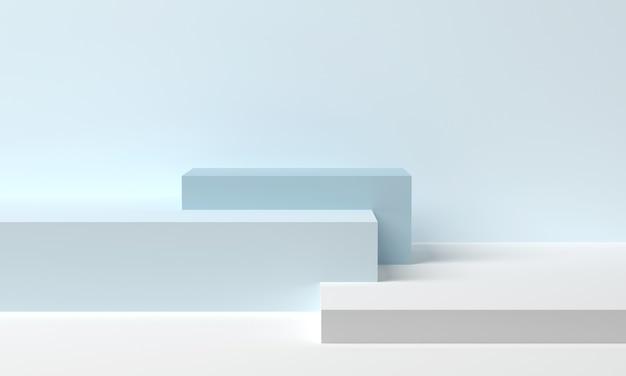 Podium voor product op podiumplatform. blauwe blokjes in een minimalistische stijl. 3d-weergave