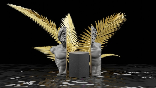 Podium voor productdisplay in donkere en gouden kleur. standbeelddoorsnede met planten