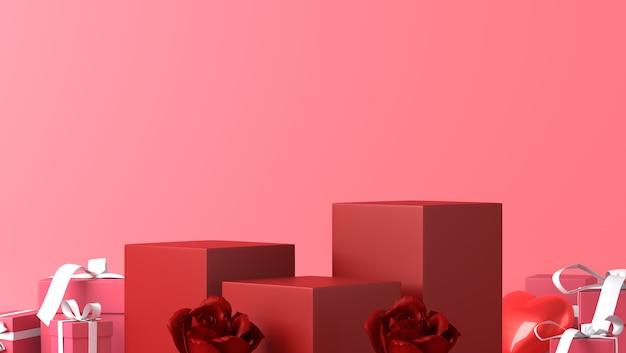 Podium voor productplaatsing in valentijnsdag met decoraties