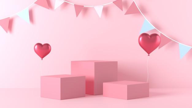 Podium voor productplaatsing in valentijnsdag met decoraties Premium Foto