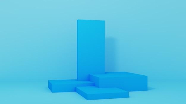 Podium voor productplaatsing met frames op blauwe achtergrond