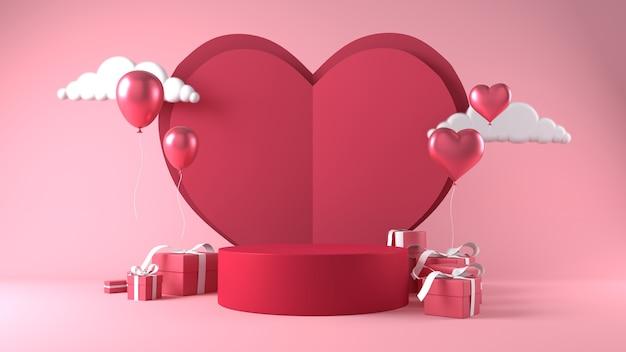Podium voor productplaatsing op valentijnsdag met decoraties