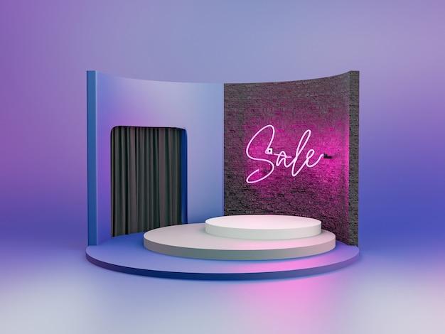 Podium voor productpresentatie met bakstenen muur en neon roze lamp met het woord sale en zwart fluwelen gordijnen