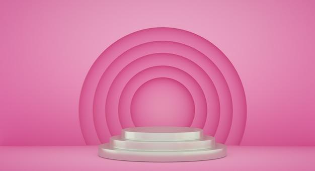 Podium voor productpresentatie met gele cirkels, 3d render achtergrond