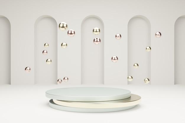 Podium voor productpresentatie met metalen bubbels 3d-modelleringsscène in rustige pastelkleuren