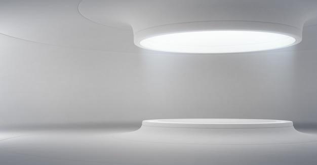 Podium voor productweergave in toekomstige architectuur of ruimteschip.