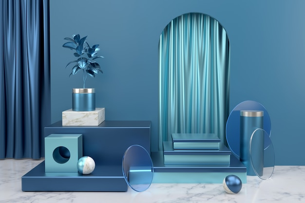 Podium weergeven voor productpresentatie. abstracte geometrische achtergrond. achtergrond van abstracte geometrische objecten met glanzende blauwe en marmeren materialen.