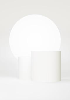 Podium witte abstracte achtergrond. geometrische vorm. witte pastelkleurenscène. minimale 3d-weergave. scène met geometrische achtergrond. 3d render
