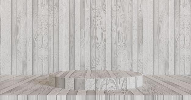 Podium witte houten achtergrond