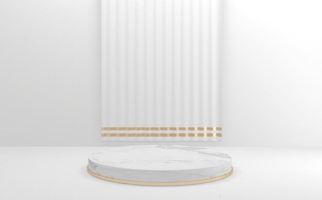 Podium witte stijl, podium minimaal geometrisch. 3d-weergave