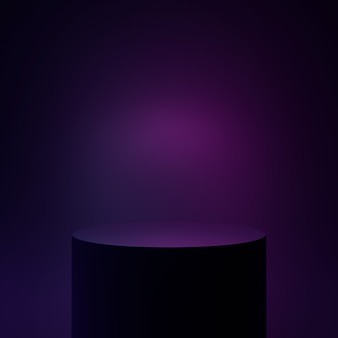 Podiumcilinder neon zwart licht futuristisch