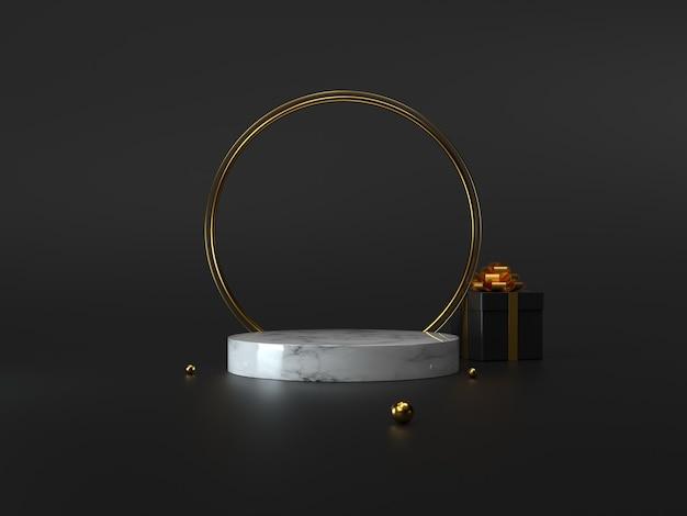 Podiumdisplay met 3d-geschenkdoos, gouden torus en bollen.