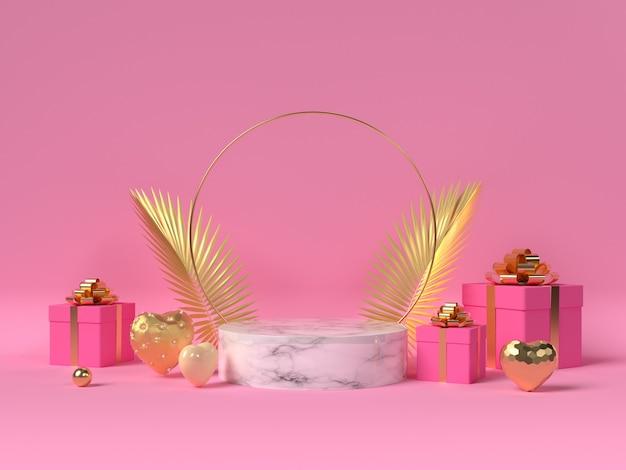 Podiumdisplay met 3d gouden harten, geschenkdozen en palmbladeren.