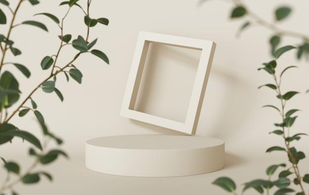 Podiumdisplay met frame en planten