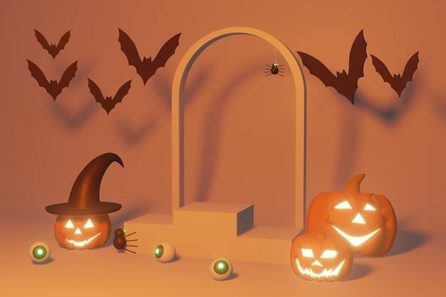 Podiumproduct van 3d-rendering van halloween