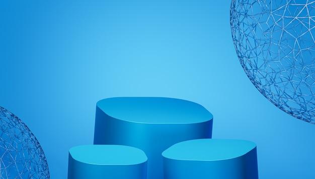 Podiums of sokkels voor producten of reclame op blauwe achtergrond, 3d render