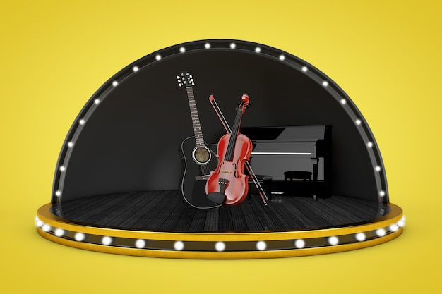 Podiumscène met licht en piano, zwarte houten akoestische gitaar en klassieke houten viool met strijkstok op een gele achtergrond. 3d-rendering