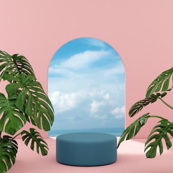 Podiumtribune met tropische bomen en blauwe oceaanhemelachtergrond