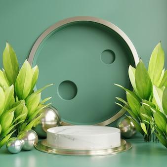 Podiumvertoning met tropisch blad op groene muur, 3d-rendering