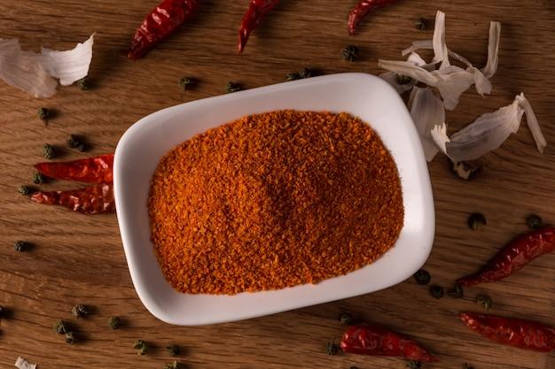 Poeder chili pepers in een kom