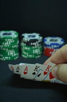 Poker kaarten - een full house hand