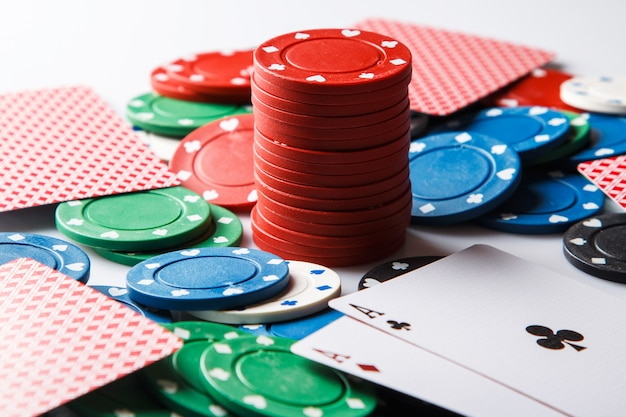 Pokerkaarten en chips