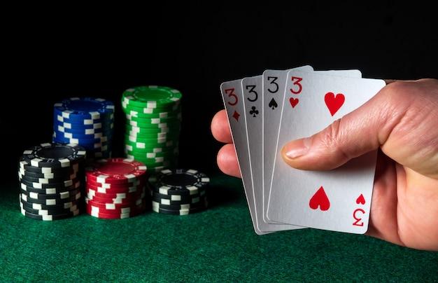 Pokerkaarten met een four of a kind- of quads-combinatie
