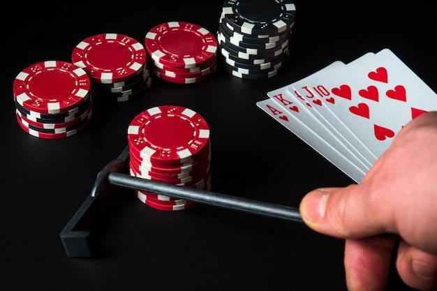 Pokerkaarten met royal flush set combinatie