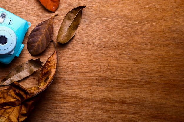 Polaroidcamera omringd door droge bladeren op een houten tafel.