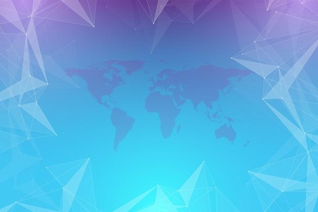 Politieke wereldkaart met wereldwijd technologienetwerkconcept. digitale datavisualisatie. lijnen plexus. big data achtergrondcommunicatie. wetenschappelijke illustratie, rasterillustratie.
