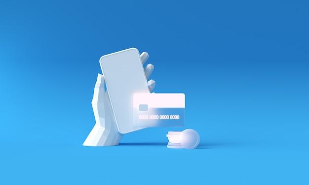 Poly hand telefoon en betaling via creditcard concept. veilige online betalingstransactie met telefoon. internetbankieren via creditcard. bescherming winkelen draadloos betalen via mobiel.