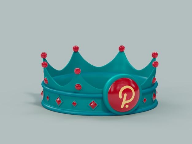 Polygon matic crown king winnaar kampioen crypto valuta 3d illustratie render