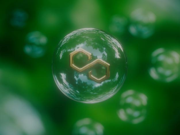 Polygon matic economische bubble instabiele crypto valuta natuur 3d illustratie render