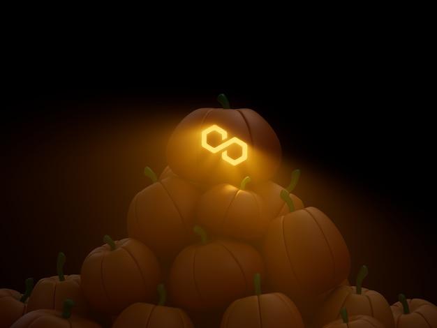 Polygon matic gesneden pompoen stack stapel crypto valuta 3d illustratie render donkere verlichting