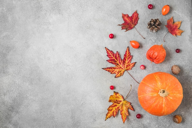 Pompoen, herfstbladeren, bloemen, bessen en noten