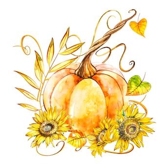 Pompoen met zonnebloemen. hand getekend aquarel op wit. aquarel illustratie.