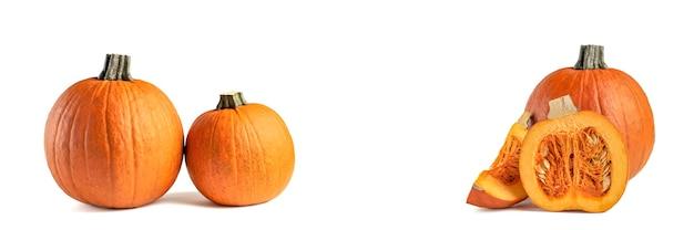 Pompoen op een witte achtergrond. halloween-thema. markeer de pompoen op wit om in uw project of ontwerp in te voegen. set afbeeldingen, hele pompoen en in stukjes gesneden op wit. werpt een schaduw.